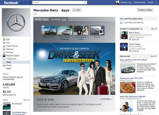 Mercedes-Benz Drive & Seek Facebook app page