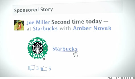 Facebook's Sponsored Story - Converts wall posts into brand sponsored ads like this one for Starbucks