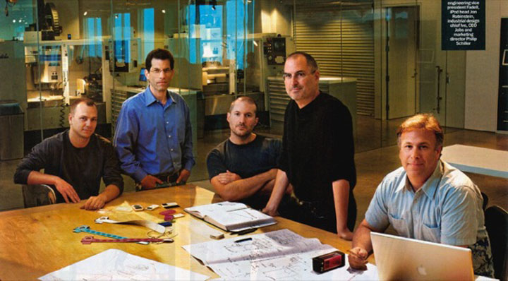 Tony Fadell (far left) at Apple together with (from left to right) Tony Fadell, Jon Rubistein Jonathan Ive, Steve Jobs and Phil Schiller posing for forTime Magazine