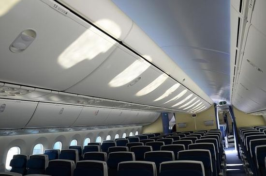 Boeing 787 Dreamliner's vaulted ceilings and larger overhead storage bins