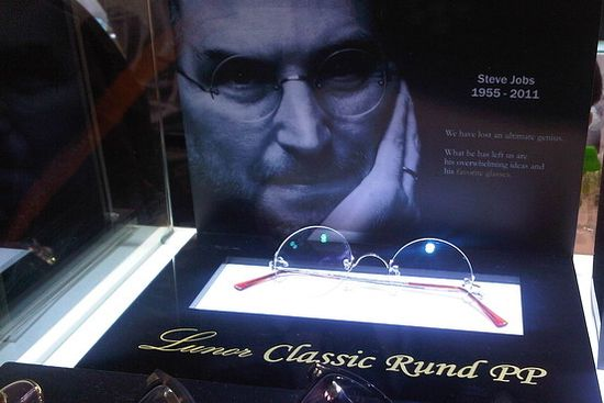 At a Hong Kong trade show, Lunor Classic Rund showed glasses that it called Steve Jobs's favorite.