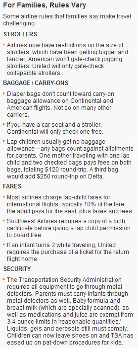 Typical rules established by airlines for families with children