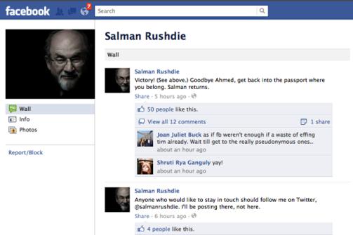 Salman Rushdie's Facebook page
