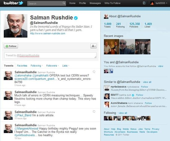 Salman Rushdie's profile page on Twitter