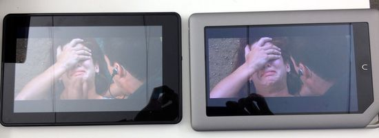B&N Nook Tablet (right) Video Next to Kindle Fire (left)