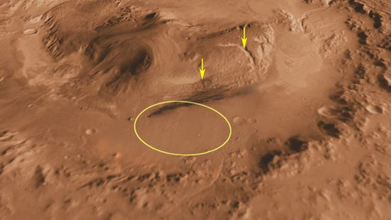 Gale Crater landing site for the Curiosity Rover. Canyons on mountain inside Gale Crater marked by arrows