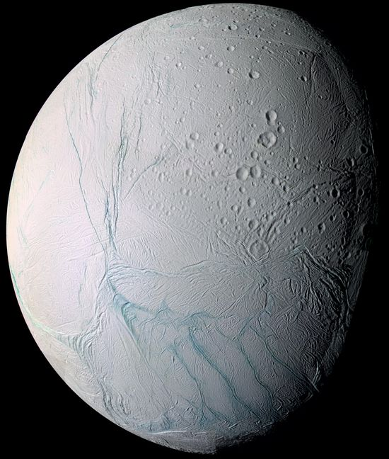 Saturn's moon Enceladus shows tiger stripes during flyby by the Saturn Cassini spacecraft