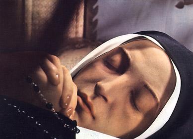 The beautiful face of St Bernadette Soubirous as it appears 122 years