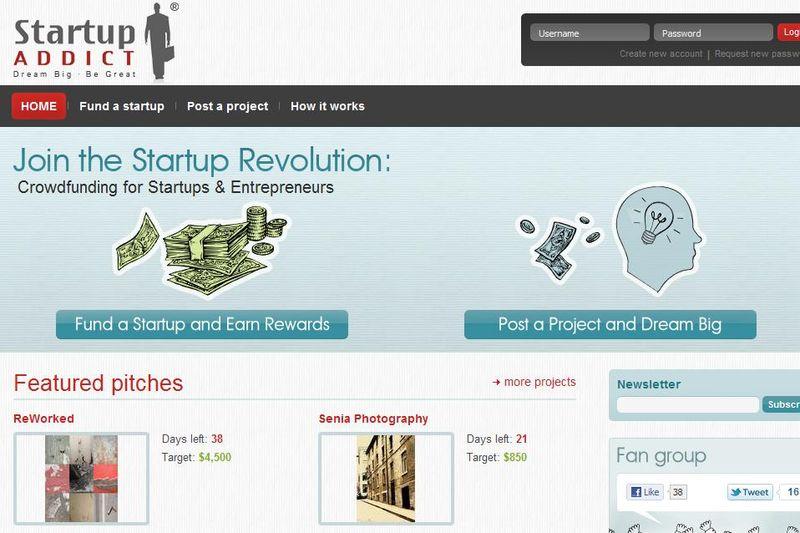 Startup Addict homepage screenshot
