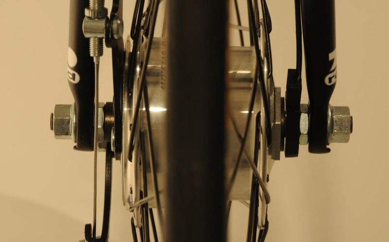 The Alpha Bike integrated and encased rear differential from the rear