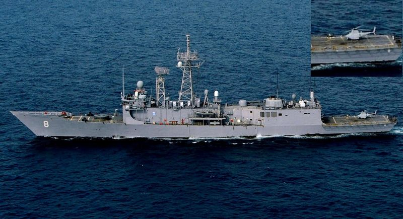 MQ-8B Fire Scout parked on the rear launch deck of the guided-missile frigate USS McInerney FFG 8