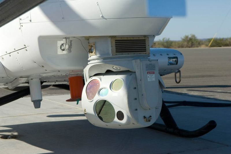 MQ-8B Fire Scout front underside is equipped with an electro-optical infrared and multi-spectral imaging system