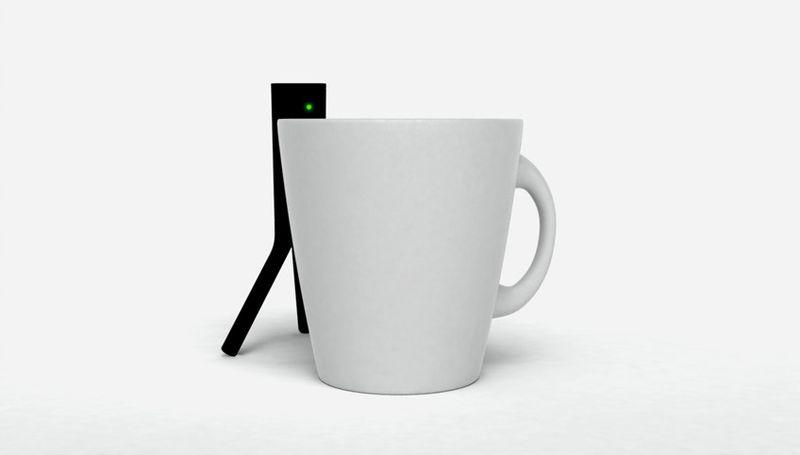 Peepster hidden behind a coffee cup