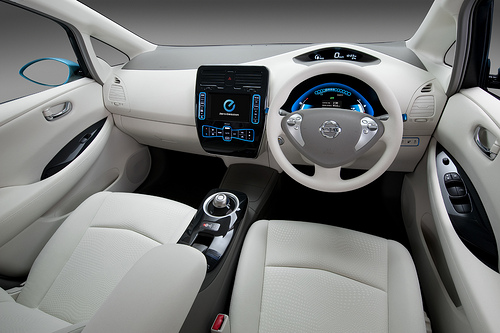 Nissan Leaf all-electric car interrior, with driving wheel on right side