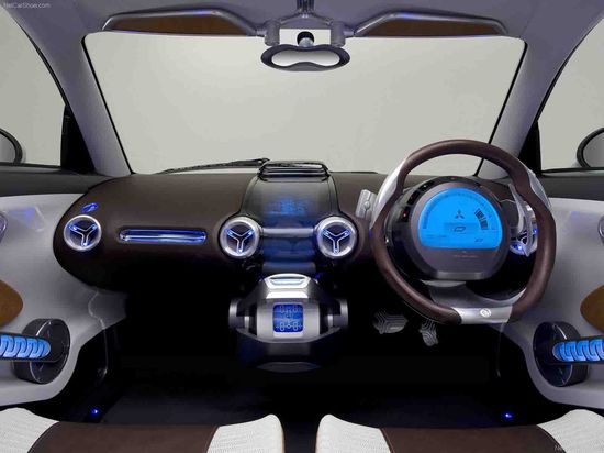 Mitsubishi I all-electric car interior. Note steering wheel located on the right side of the car