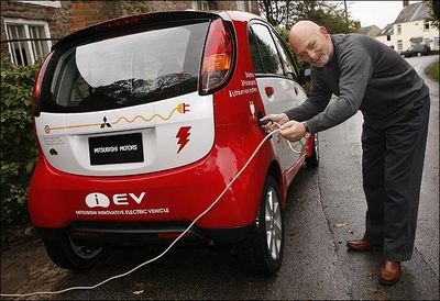 Mitsubishi I all-electric car being charged