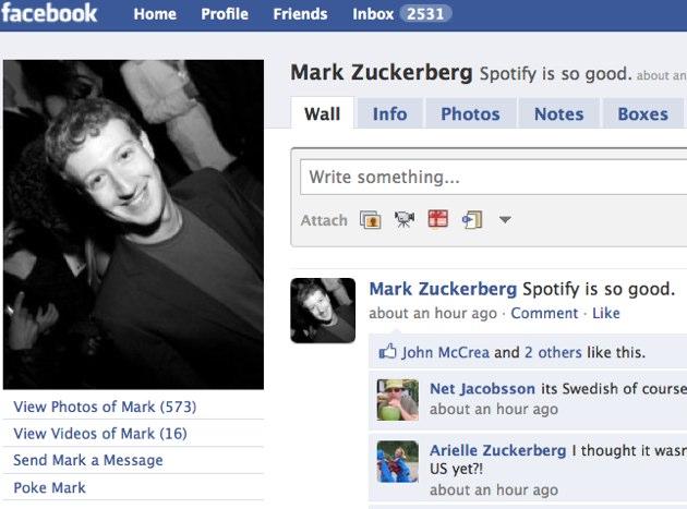 Facebook CEO Mark Zuckerberg is a big fan of Spotify