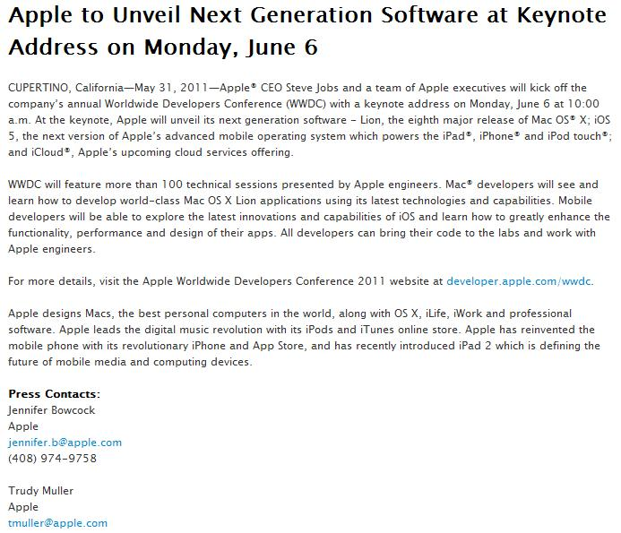 Apple Press Release of May 31, 2011 - Apple to Unveil Next Generation Software at Keynote Address on Monday, June 6