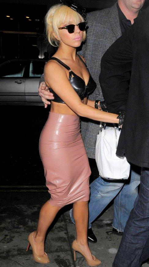 Lady Gaga wearing a pink latex dress