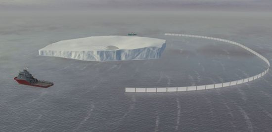 Tugboats dragging a huge iceberg brace that will be used to surround the iceberg and make it easy to move it through the ocean