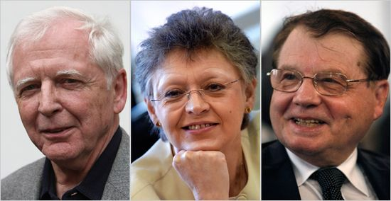 The $1.4 million award will be shared by, from left, Dr. Harald zur Hausen, 72, of Germany, and French virologists Dr. Françoise Barré-Sinoussi, 61, and Dr. Luc Montagnier, 76