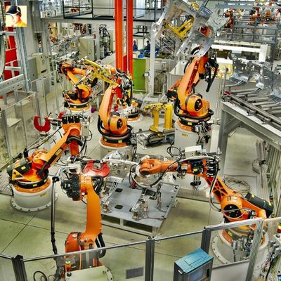 Industrial robots used in the automotive industry, in this particular case BMW