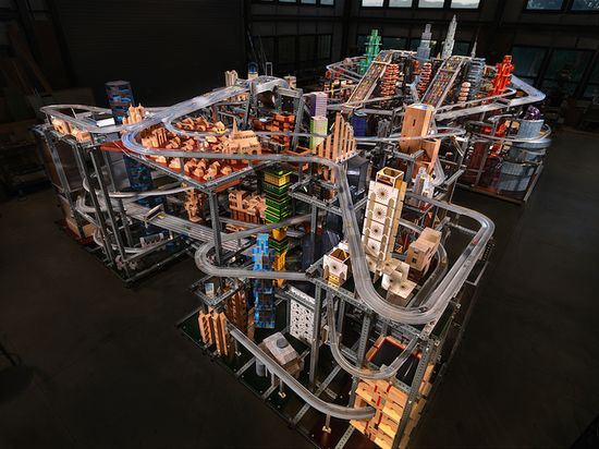 Metropolis II is a cityscape that allows 1,100 toy cars to blaze down 18 lanes of freeways equipped with endless loops