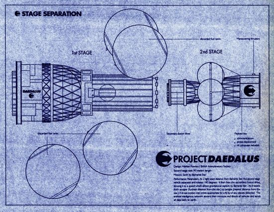 Blueprint of the Daedalus space vehicle's two stages