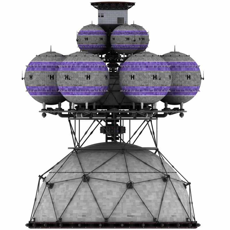 Color illustration of the Daedalus interstellar space vehicle with major sections labeled