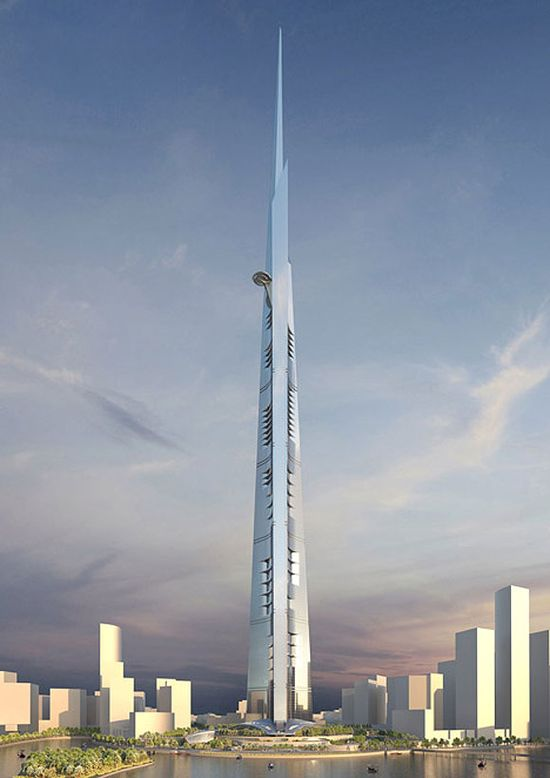 Kingdom Tower will be built in Jeddah, Saudi Arabia and measure  over 1000 meters high 2