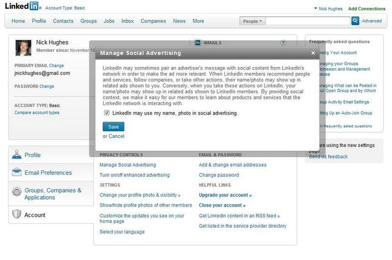 LinkedIn's 'Manage Social Advertising'  opted-in box is automatically checked without your permission