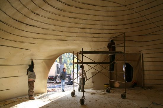 The Hobbit House under construction interior view of the dome structure
