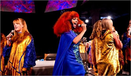 "Bjork performing ""Biophilia,"" a new multimedia work, at the Manchester International Festival in England."