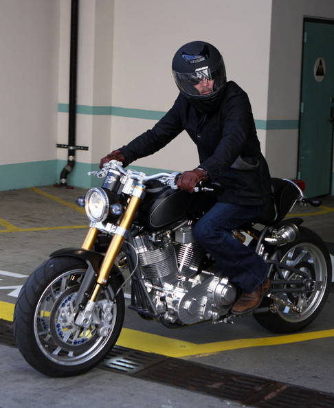 Brad Pitt riding a Confederate X131 motorcycle in Beverly Hills