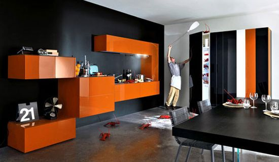 Modular Orange Kitchen 5