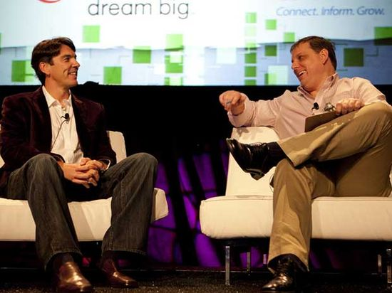 AOL CEO Tim Armstrong (left) and TechCrunch founder and CEO Michael Arrington back in September 2010