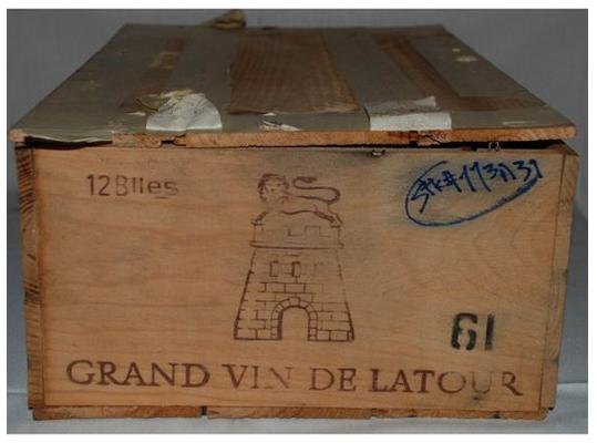 A case of 12 bottles of Chateau Latour 1961 Pauillac Bordeaux scored a rating of100 Points