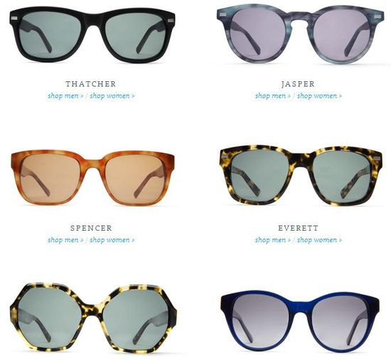 Warber Parker Sunwear Collection selection of polarized sunglasses