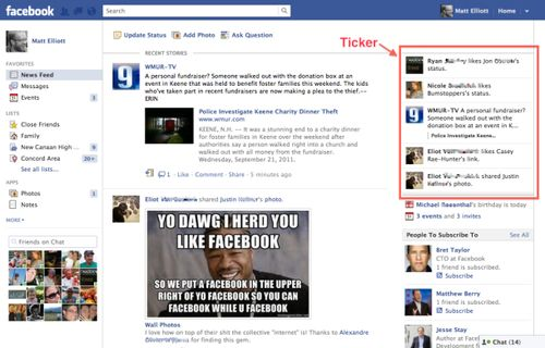 Facebook with Ticker activated as it appears on the right-hand side