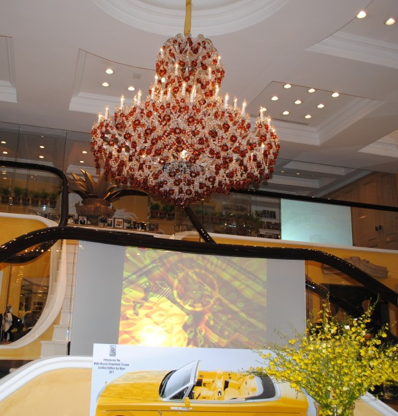 Bijan boutique is decorated with a huge crystal chandelier