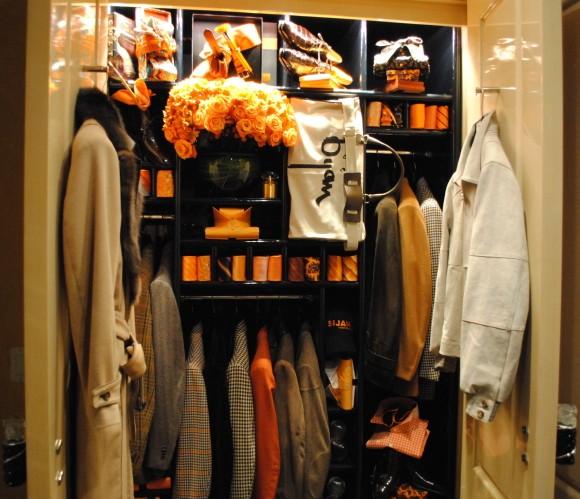 Bijan boutique upstairs Orange and Brown closet