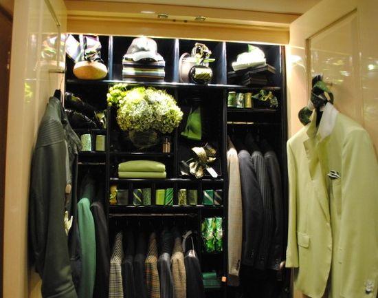 Bijan boutique's upstairs Green closet