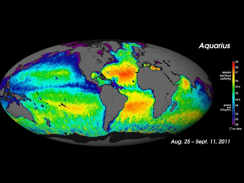 First global map of the salinity, or saltiness, of the Earth's ocean surface produced by NASA's Aquarius instrument taken for the period August 25 through September 11, 2011