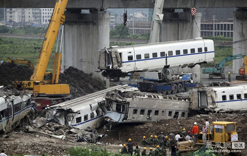 The Chinese bullet train accident killed 40 people and injured at least 190. The impact sent four carriages plunging 65 ft off the elevated rail line 4.
