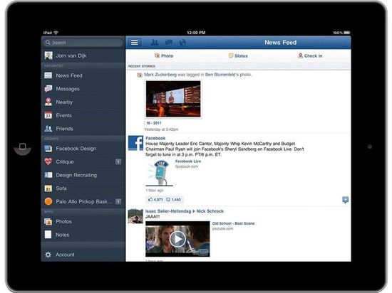 Facebook for iPad, Navigate anywhere, fast 1