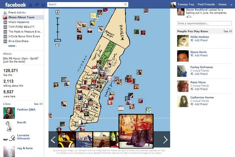 Bergdorf Goodman's Shoe About Town is an interactive map of Manhattan showing where people have seen certain shoes sold through the luxury retailer