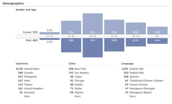 Facebook Insights Dashboard - Demographics Metrics