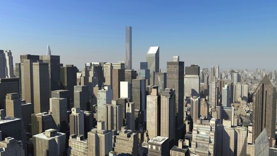 New York skyline as it would appear with the construction of 432 Park Avenue Vinoly Tower