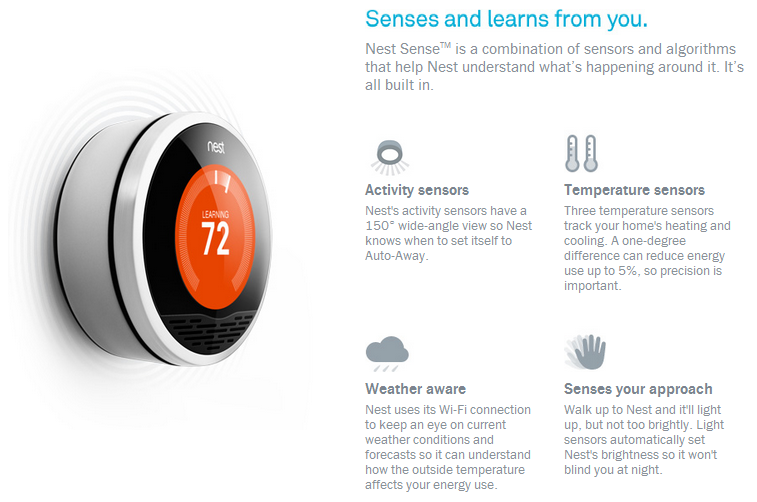 Nest senses and learns from you