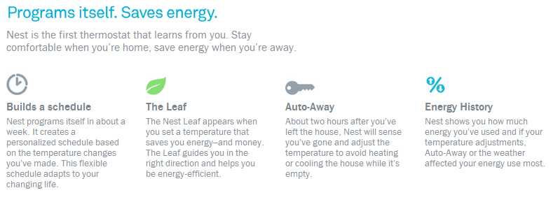 Nest programs itself.  Saves energy.